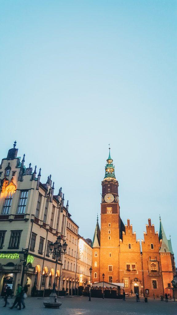 ayuntamiento de Breslavia por la noche