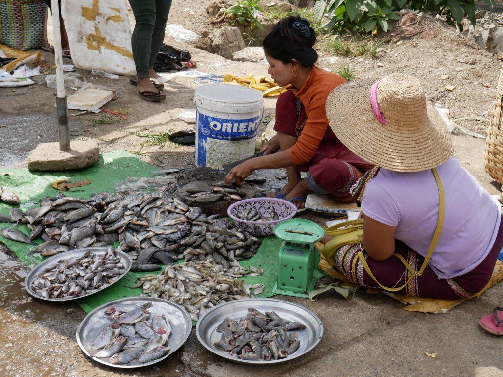 dos mujeres vendiendo pescado en un mercado de Myanmar