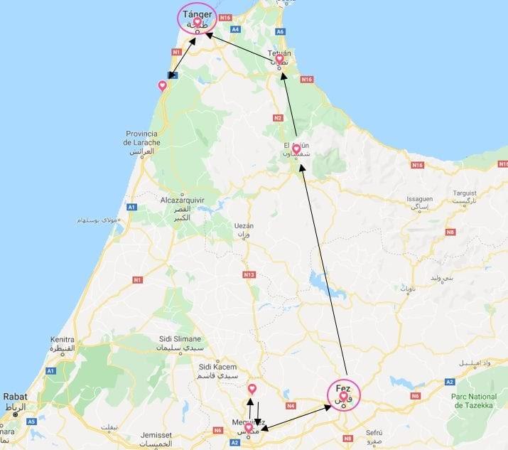 plano de la ruta por el Norte de Marruecos